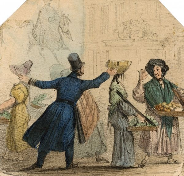 A policeman moves on some female street traders who are selling fruit and vegetables. Date: circa 1830