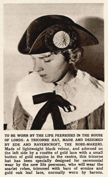 A tricorne hat, made from black velour to be worn by the life peeresses in the House of Lords. Designed by Ede and Ravenscroft the robe-makers