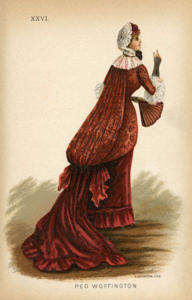 Suggestion for a fancy dress costume for a late Victorian party goer - Peg Woffington, a well known Irish actress of Georgian London. She wears a sacque dress of red brocade trimmed with lace, a lace cap upon her head and carries a fan