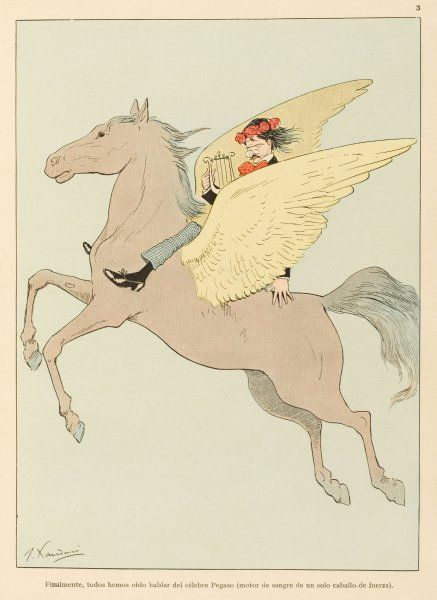 Pegasus is one of the earliest flying machines, powered by a one horse-power motor with blood as its fuel. Date: 1911