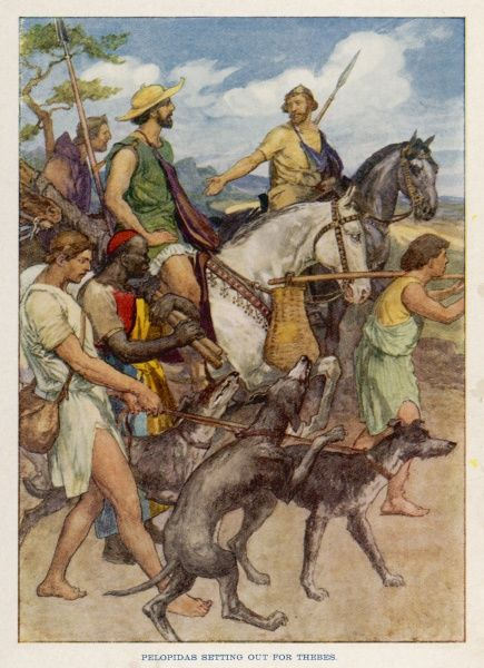 The Theban general Pelopidas (in green) and his men, disguised as peasants, set off for Thebes and are successful in freeing the city from the crushing Spartan occupation