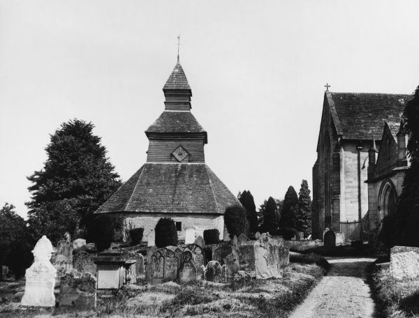 The octagonal detached bellfry of Pembridge Church, Hertfordshire, isolated so that the vibrations of the bell ringing do not rock the foundations of the church