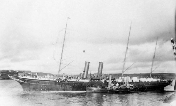 View of Pembroke Dock with the royal yacht Victoria and Albert, Pembrokeshire, South Wales. This was the third royal yacht to bear this name -- it was built in Pembroke Dock and launched in 1899