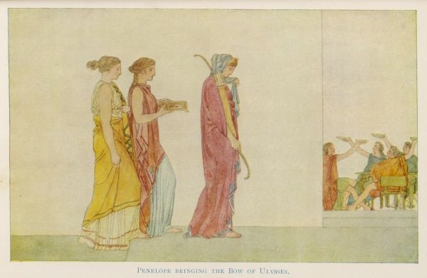 At Ithaca, Odysseus' despondent wife Penelope and her maids bring Odysseus' bow to the Suitors. If any of them are strong enough to string it, they win her hand