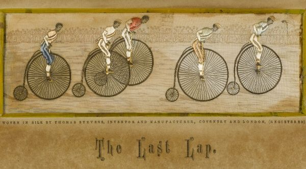 'The Last Lap' Five racing cyclists approach the finishing line on their Penny Farthings