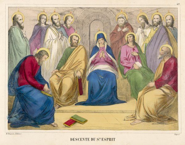 At the Feast of Pentecost, the Holy Spirit descends on the Apostles