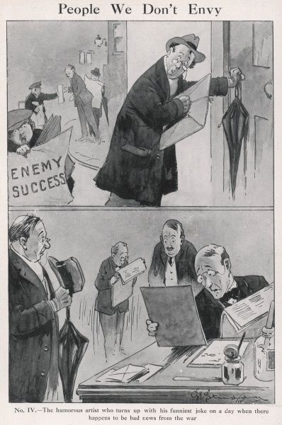 A humorous artist visits the offices of a magazine with his funniest cartoon to date, only to discover that it's the day there happens to be particularly bad news about the war. An occupational hazard during World War One I guess. Credit should read