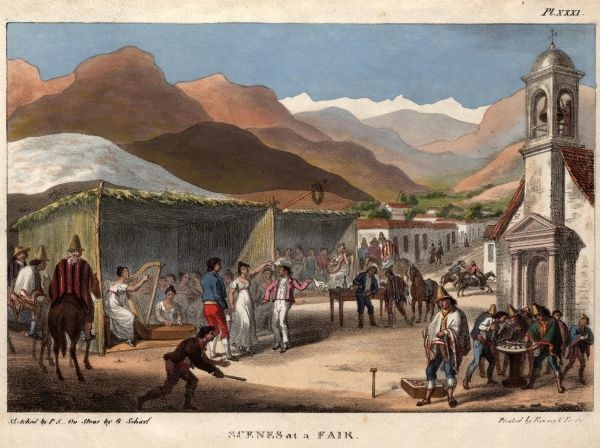 Scenes at a Fair -- people at a fair in 19th century Chile, South America