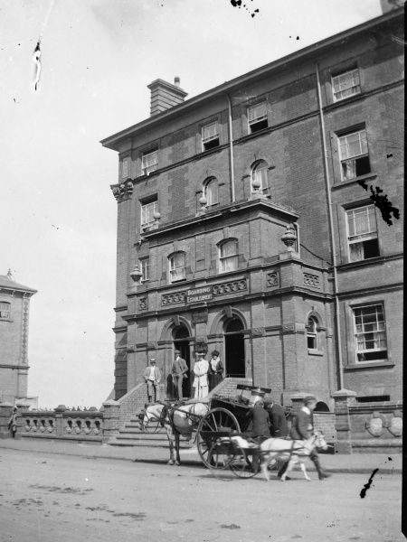A group of smartly dressed people standing on the front steps of a large five-storey Pembrokeshire boarding house. There are two carts in the roadway -- a large one pulled by a horse, and a small one pulled by a goat