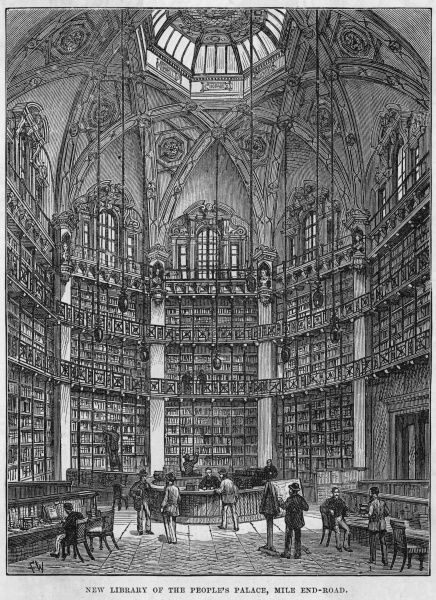 The newly opened library of the People's Palace in the Mile End Road, London