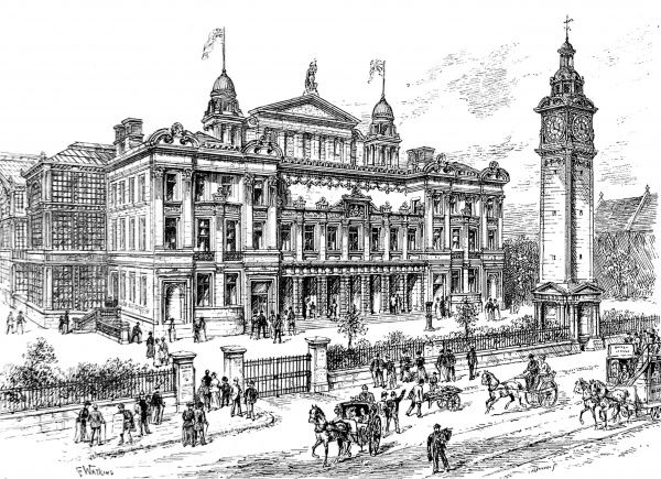 Illustration showing the exterior of the People's Palace, Mile End Road, East London in 1891
