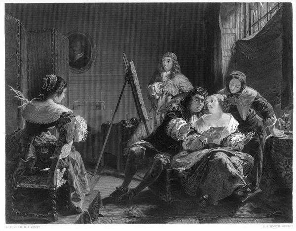 SAMUEL PEPYS watches while his wife has her portrait painted