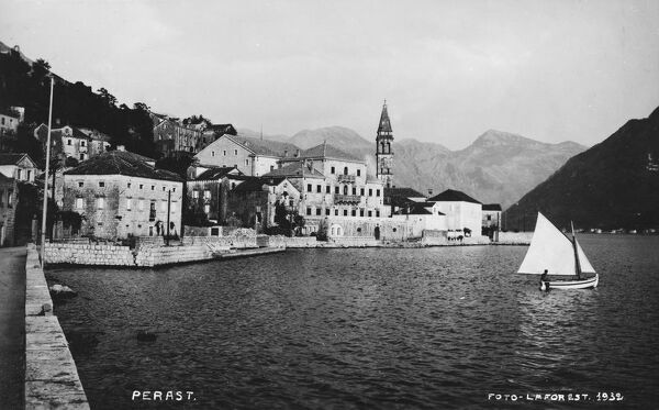 View of the attractive town of Perast, Montenegro. Venice owned the city between 1420 and 1797. Perast was part of the Venetian Albania. The city's sixteen Baroque palaces were mostly built in this period, too, as were its seventeen Catholic churches