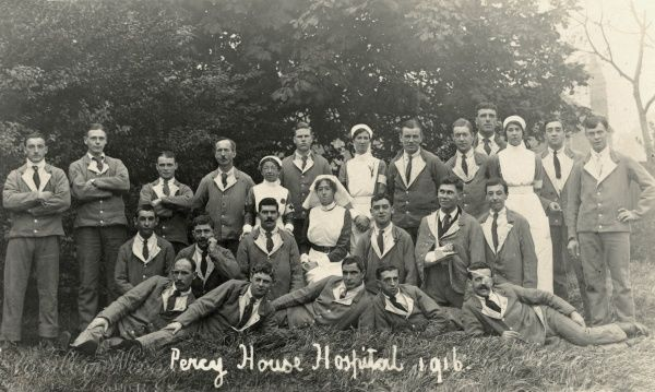 Patients and nurses at the Percy House Military Hospital during the First World War