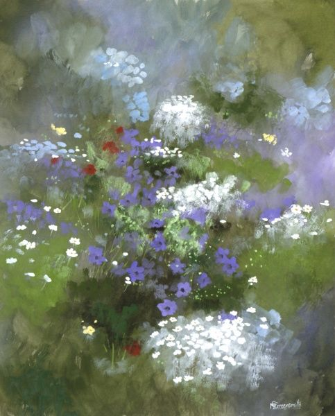 A border of perennial flowers: Daisies, buttercups poppies and pansies. Watercolour painting by Malcolm Greensmith
