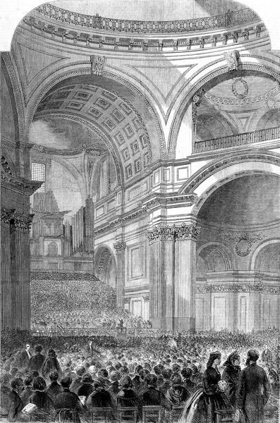 Engraving showing the audience and choir (at back) gathered in St. Paul's Cathedral, London, for a performance of Handel's 'Messiah', 1861