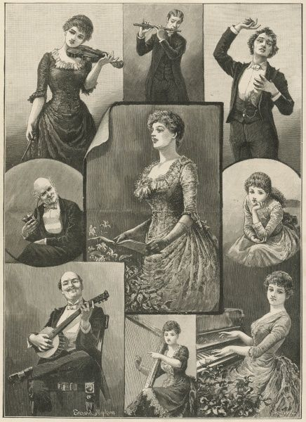 Actors and musicians performing at an amateur concert in the 19th century