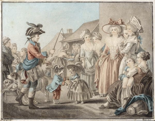 Two dogs in 'male' and 'female' roles entertain a group of well-to-do ladies at the edge of a market or shopping street. The handler also has an owl and a cat