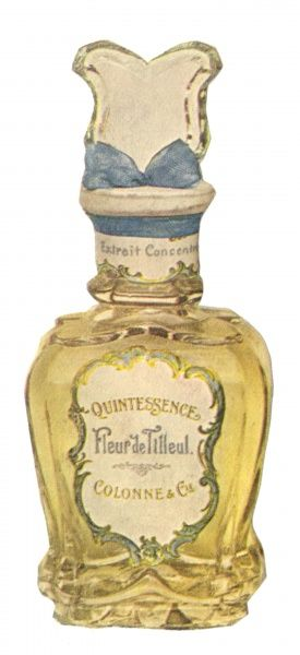 A decorative perfume bottle containing Eau de Cologne Fleur de Tilleul. Date: circa 1900