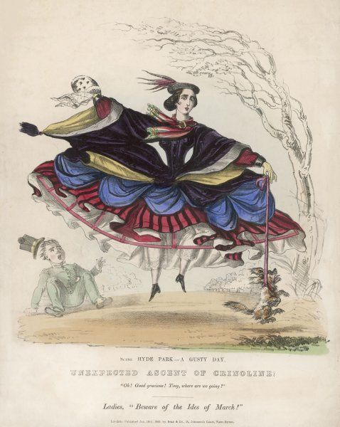 Voyeurs can cop an eyeful in Hyde Park on a windy day thanks to the latest fashion. A lady is lifted off the ground as her crinoline inflates scaring her pet dog & page boy Date: 1859