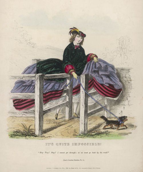 A young lady in a cage crinoline is confronted with the folly of the new fashion as she is prevented from negotiating a staggered stile on a country walk