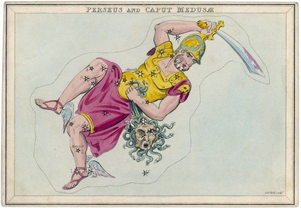 Perseus, wearing his winged sandals, holding the dismembered head of Medusa by her serpent hair