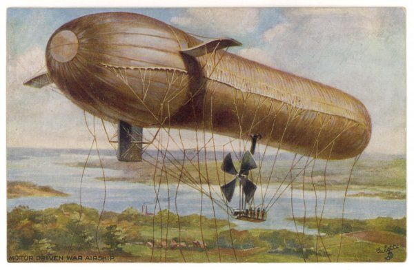 'Parseval' military airship : its inventor, Major von Parseval, claims it can be inflated/deflated more rapidly than any competing airship