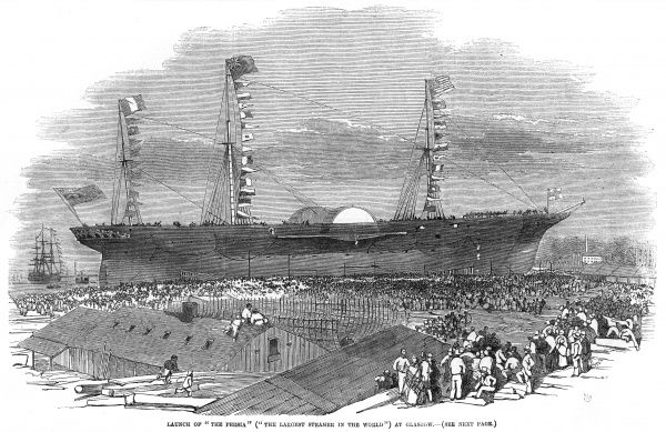 Steamship launched at the Robert Napier & Sons shipyard at Govan, Glasgow. At the time she is the largest steamship afloat and wins the 'Blue Riband' in 1856. Date: 3 July 1855