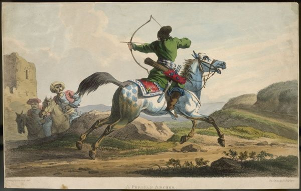 A Persian warrior shoots from the saddle