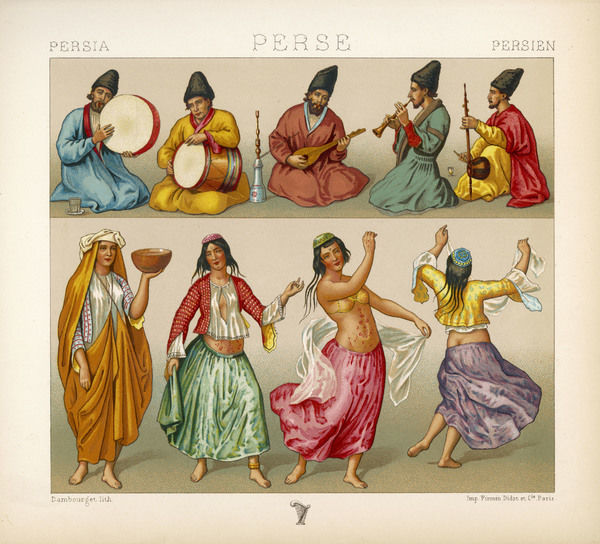 A group of Persian musicians play on a variety of instruments. Below dancing girls perform to the music