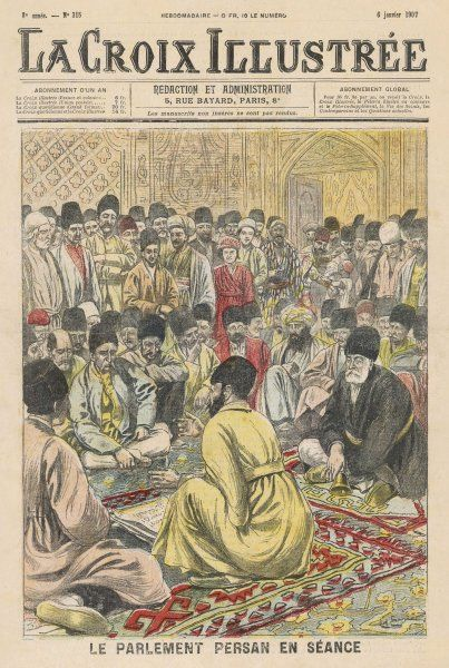A debate of the Persian parliament, convoked by the Shah as a democratic gesture. The deputies are seated, spectators stand round them and may speak if invited