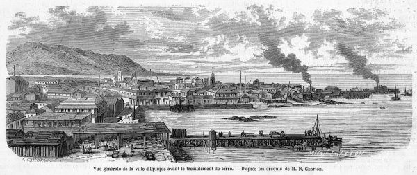 View of the town and harbour before the earthquake which caused extensive damage