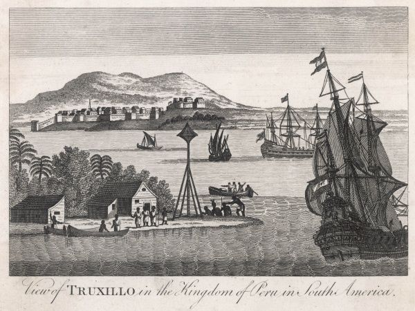 European vessels and native craft in the harbour of Trujillo (formerly Truxillo)