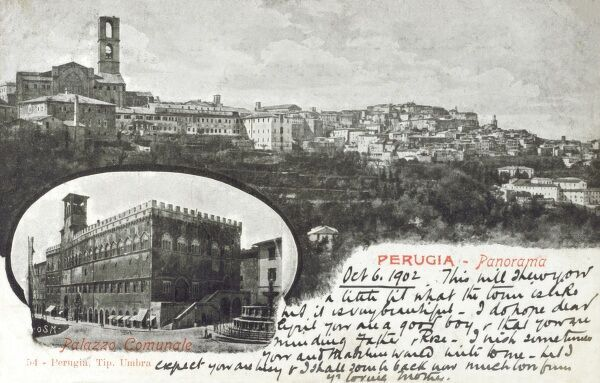 Perugia, Italy - Panorama with a details of the Communal Palace Date: 1902