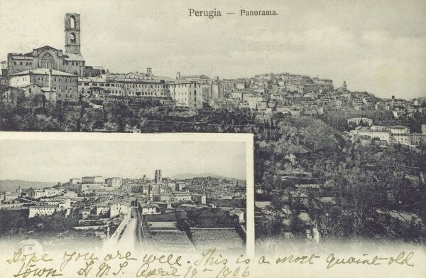 Perugia, Italy - Two panoramic views of the city Date: circa 1907
