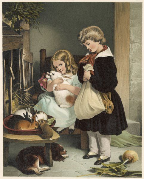 Children with their pet rabbits : but why has the boy got his rabbit wrapped up in a pillowcase ? Is he taking it to the kitchen for supper ?