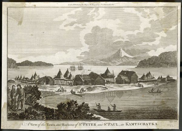 A view of the town and habour of St Peter and St Paul, in Kamtschatka. Probably the Peter & Paul Fortress in the Neva delta which was used as a political prison