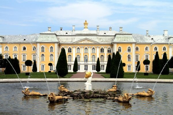 Peterhof Palace and Garden with gold statues and fountains in St. Petersburg, Russia
