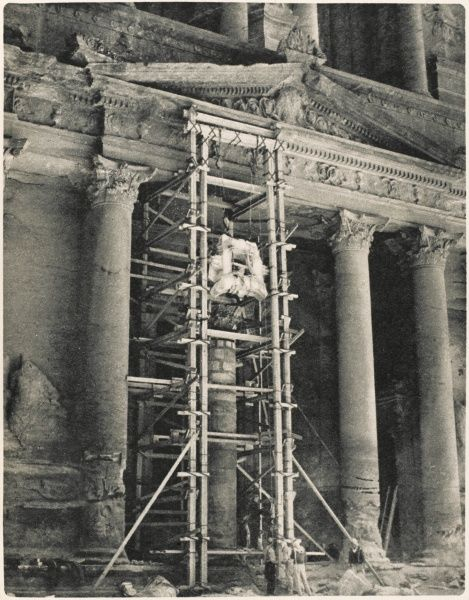 Restorations in the desert: repair work among the monuments of Petra, Jordan
