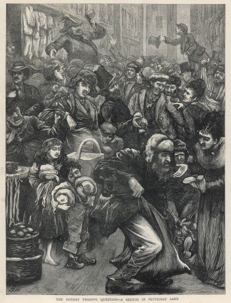 Large crowd at the Petticoat Lane market London. This image was originally entitled 'The Sunday Trading Question - A Sketch in Petticoat Lane&#39