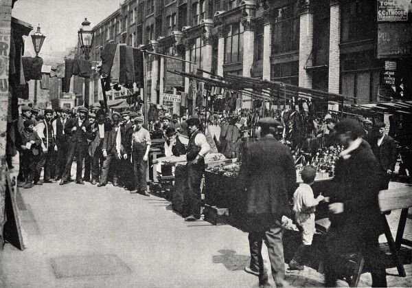 Part of Petticoat Lane Market, located on Middlesex Street and Wentworth Street in the East End of London