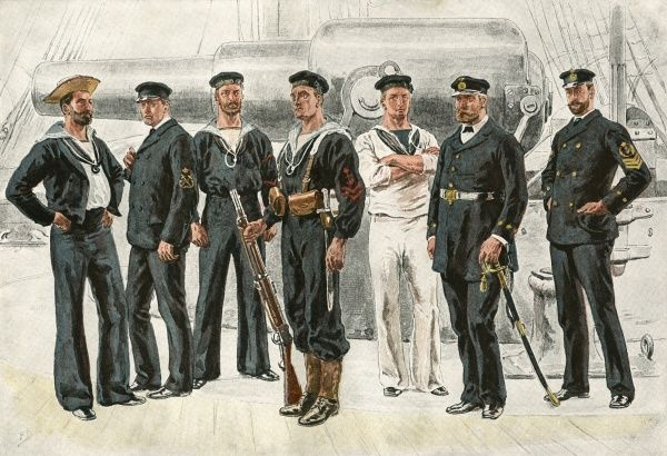 Petty officers and seamen. Date: 1891