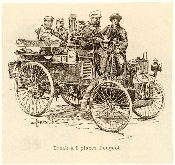 Five men go for a drive in a Peugeot