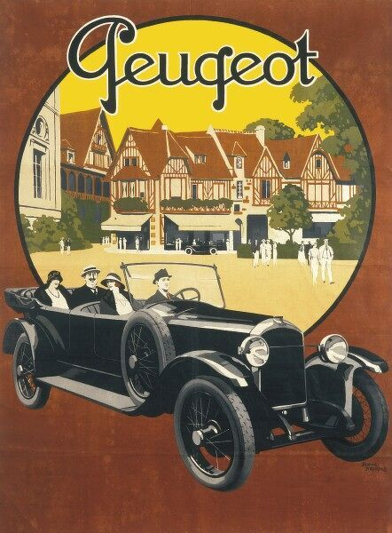 Poster for Peugeot cars featuring a comfortable looking car with a driver and three passengers passing through an idyllic looking town or village with half-timbered houses
