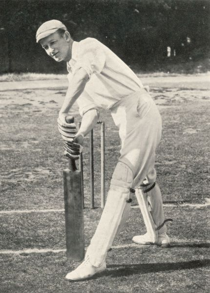 P.F (Sir Pelham) Warner batsman and captain of Middlesex cricket club playing cricket