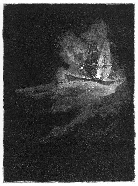 The phantom burning ship has been frequently seen off the North American coast, and on the Great Lakes