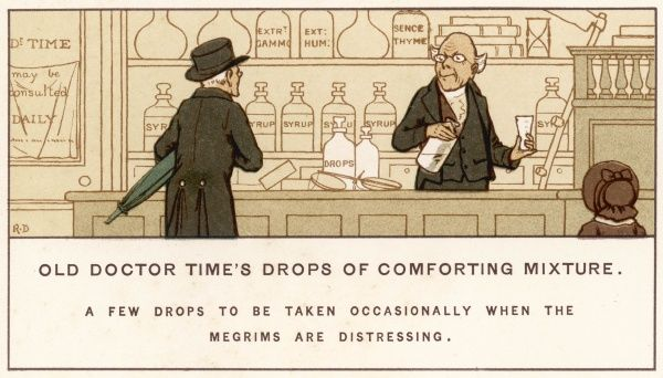 A pharmacist measures out drops for the 'megrims' (winter blues)