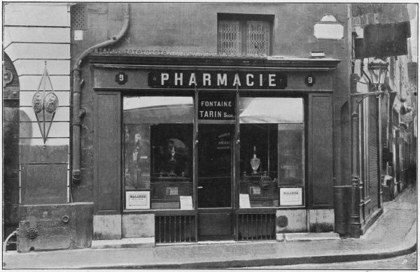 Exterior of a pharmacy in Paris, France