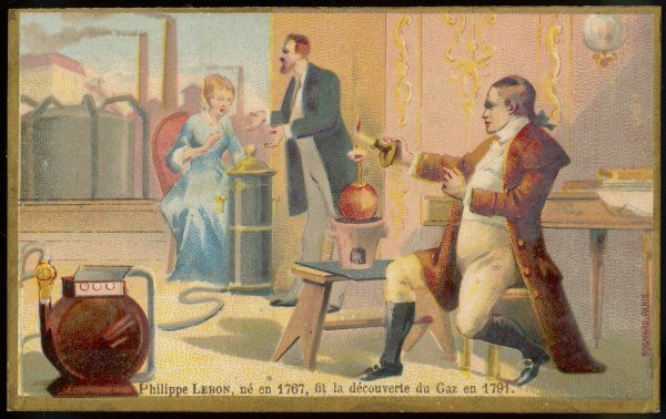 PHILIPPE LEBON French chemist who introduced coal gas lighting for streets with his 'Thermolampe' 1799