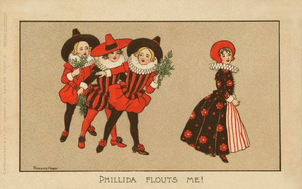 Three rival young suitors,all dressed in Elizabethan clothes and carrying mistletoe watch their young fancy, also dressed in Elizabethan costume